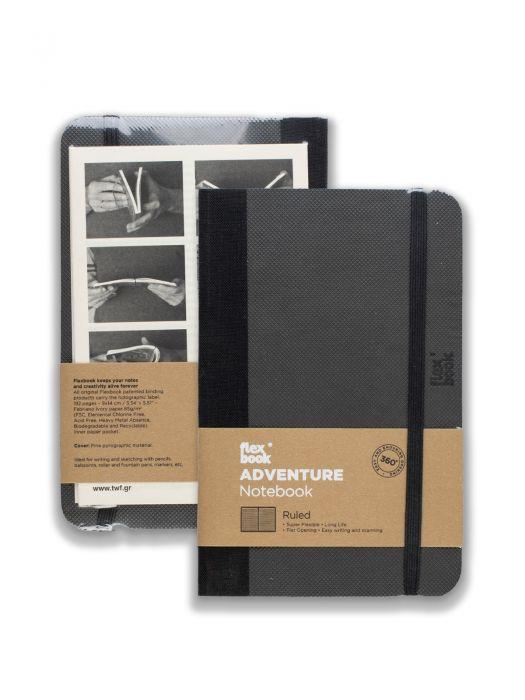 Flex Book Adventure Notebook Siyah Çizgili 13x21 cm