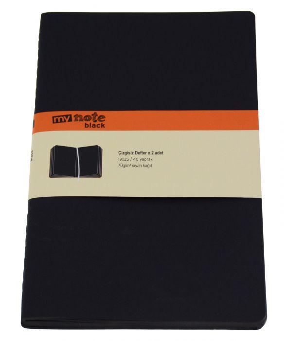 My Note Siyah Çizgisiz Defter 2'li Paket 19x25 cm