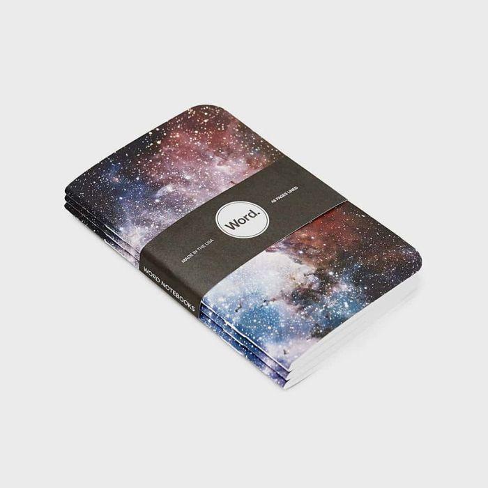 Wordnotebook 3'lü Cep Boy Intergalactic Çizgili Defter 9x14cm