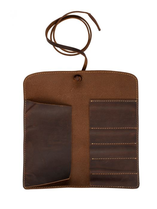 Vintage Design Kahverengi Deri Kalem Kılıfı