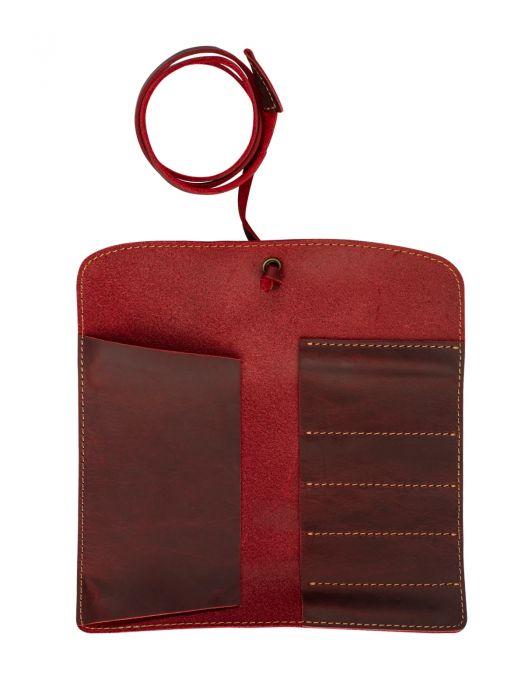 Vintage Design Kırmızı Deri Kalem Kılıfı