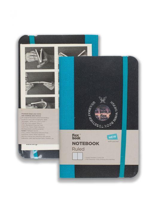 Flex Book Notebook Turkuaz Çizgili 9x14 cm