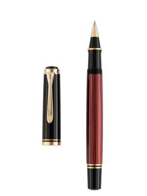 Pelikan R400 Black Red Roller Kalem - Thumbnail