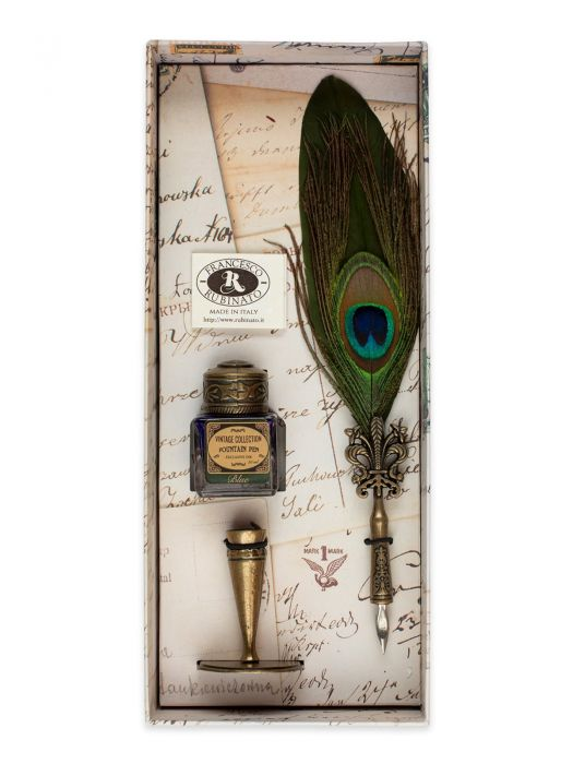 Francesco Rubinato Tüylü Tavus Kuşu Verde Antique Divit Kalem Seti