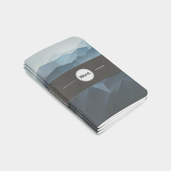 Wordnotebook 3'lü Cep Boy Blue Mountain Çizgili Defter 9x14cm