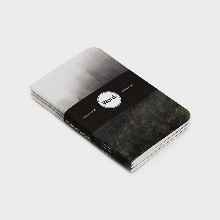 Wordnotebook 3'lü Cep Boy Mist Orman Çizgili Defter 9x14cm